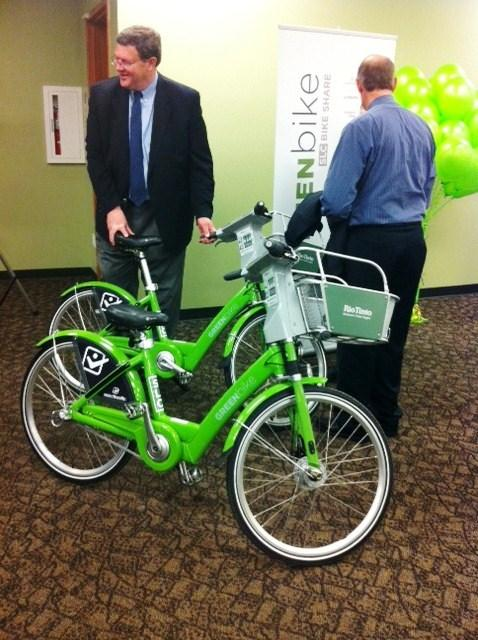 Salt Lake City Councilman Carlton Christensen with a bike Salt Lake City's new GREENbike program.