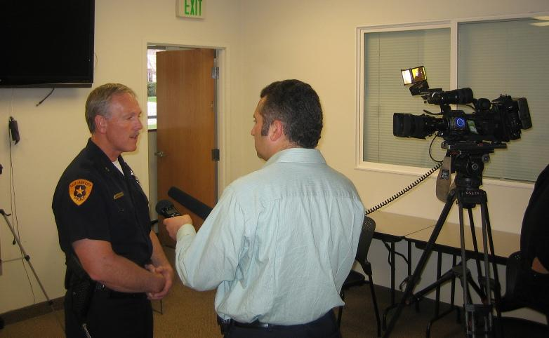 Salt Lake City Deputy Police Chief Terry Fritz briefs reporters on security for the Salt Lake City Marathon