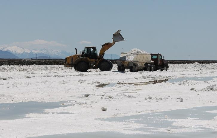 Sulfate of potash is loaded into trucks at Great Salt Lake Minerals