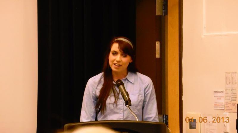 BYU student Hannah Wheelwright speaks at the Ordain Women meeting at the University of Utah, April 6, 2013