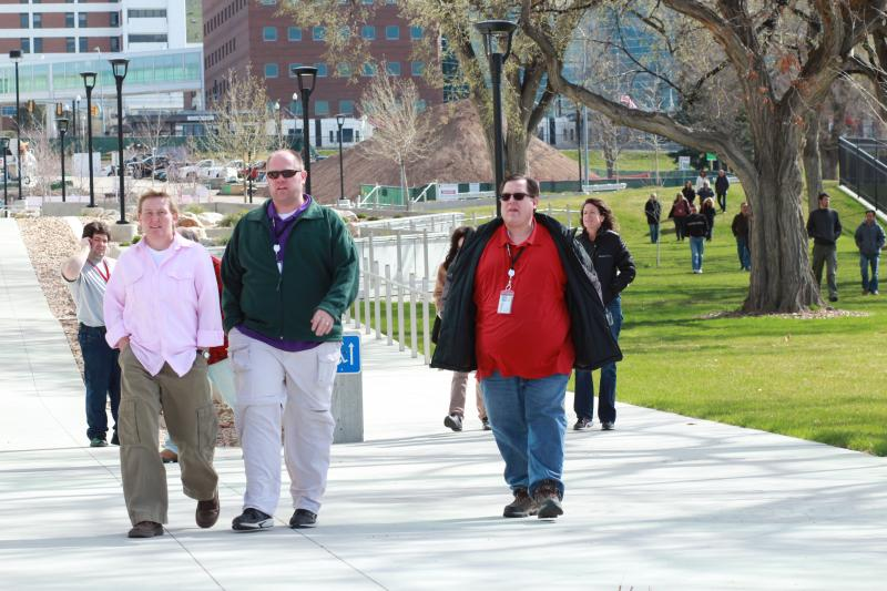 Students, Faculty, and Staff evacuate their buildings during the Utah ShakeOut earthquake drill