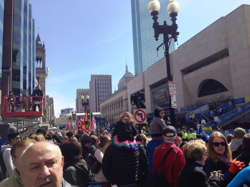 Crowd at the Boston Marathon before explosions on April 15th, 2013.