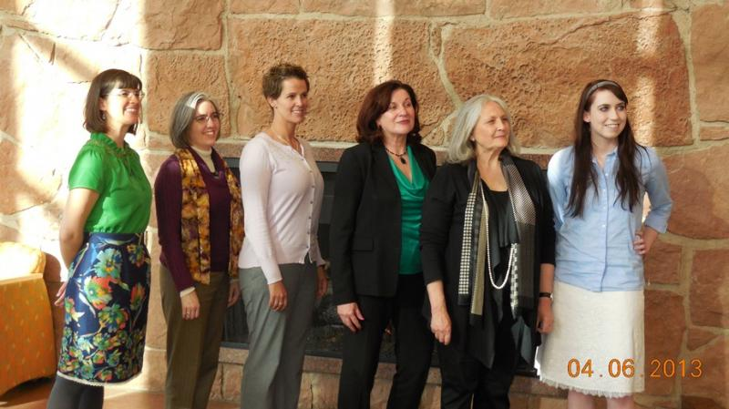 Speakers at the Ordain Women meeting at the University of Utah April 6, 2013.  L to R: Kate Kelly, Mary Ellen Robertson, Debra Jensen, Margaret Toscano, Lorie Winder, Hannah Wheelwright