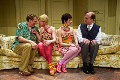Mark La Mura (Oscar Madison), Amy Bodnar (Gwendolyn Pigeon), Helen Anker (Cecily Pigeon) and Jeff Talbott (Felix Ungar) in Pioneer Theatre Company's production of The Odd Couple
