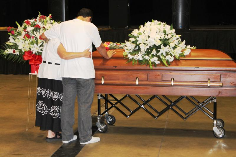 Mourners at the Rail Event Center in Salt Lake City