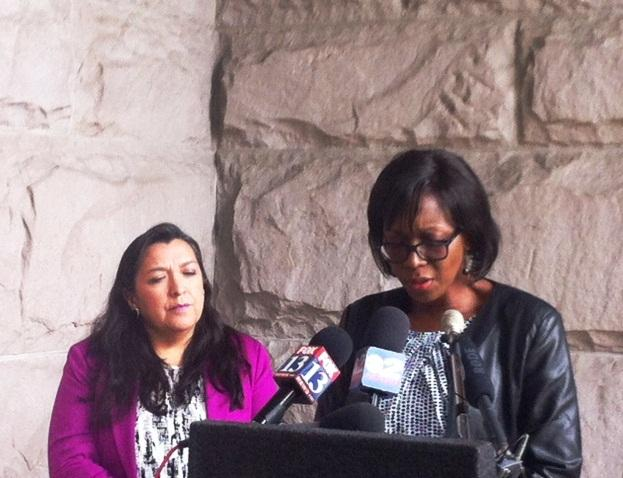 Representative Rebecca Chavez-Houck and Salt Lake City Human Rights Commission Chair Sabina Zunguze.