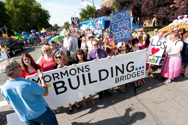 Salt Lake City Mayor Ralph Becker addresses Mormons Building Bridges supporters in the 2012 Utah Pride Parade