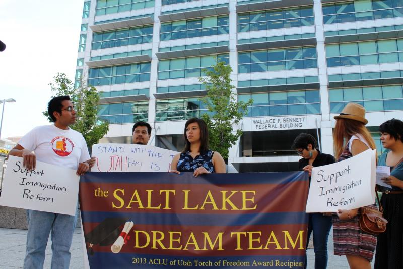 Members of the Salt Lake DREAM team outside Senator Orrin Hatch's Salt Lake City office.