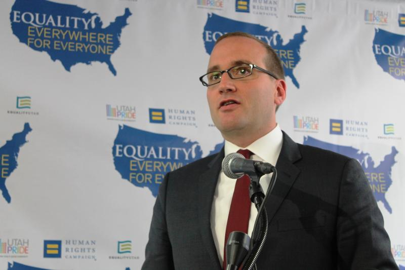 Human Rights Campaign President Chad Griffin at the Utah Pride Center in Salt Lake City