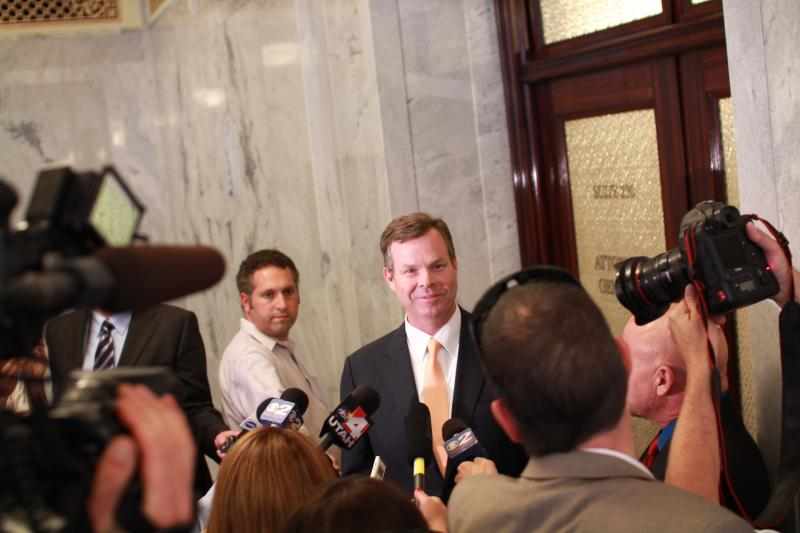 Utah Attorney General John Swallow address the media