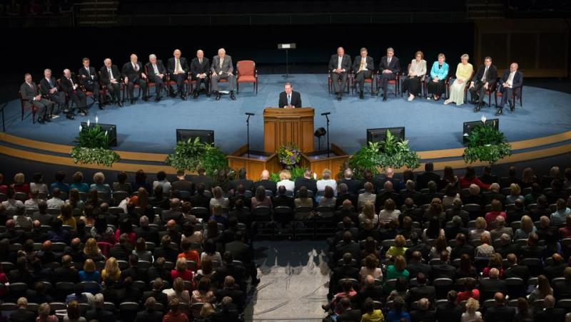 Mormon leaders address new mission presidents at Brigham Young University's Marriott Center