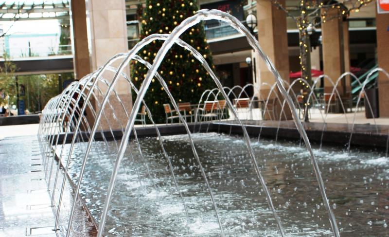 A fountain at City Creek Center during the holiday shopping season.