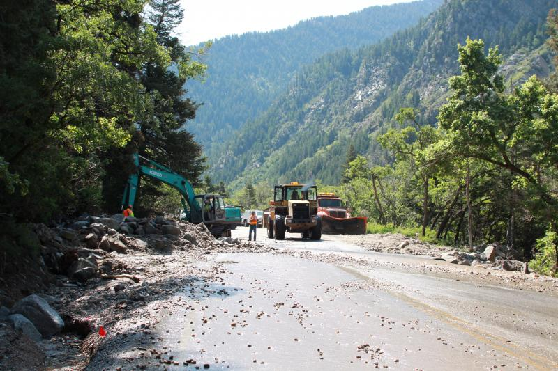 A rock slide damages the road in Little Cottonwood Canyon