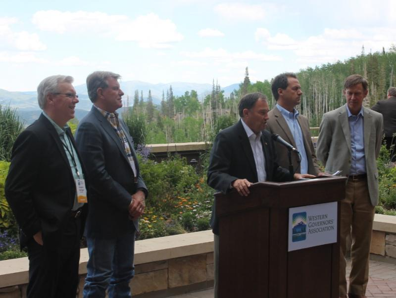 Manitoba Premier Greg Selinger, Idaho Gov. Butch Otter, Utah Gov. Gary Herbert, North Dakota Gov. Jack Dalrymple and Colorado Gov. John Hickenlooper at the WGA meeting in Park City, UT