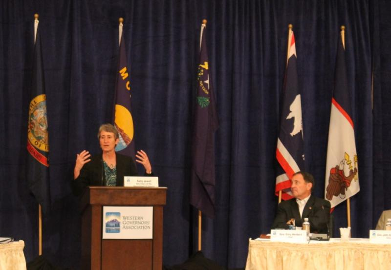 Interior Secretary Sally Jewell speaks to the Western Governors Association meeting in Park City, UT
