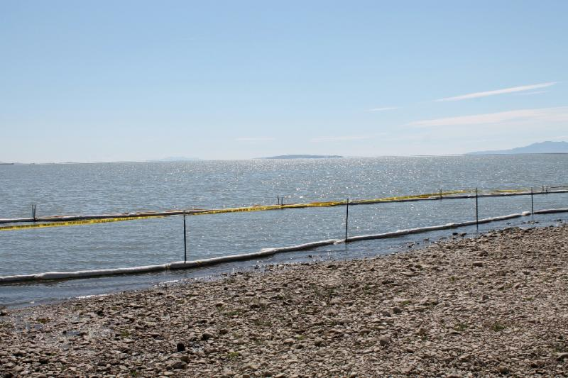 A view of a restricted area of Willard Bay State Park after a fuel spill in March.  State Park officials reopened the park to the public on Friday