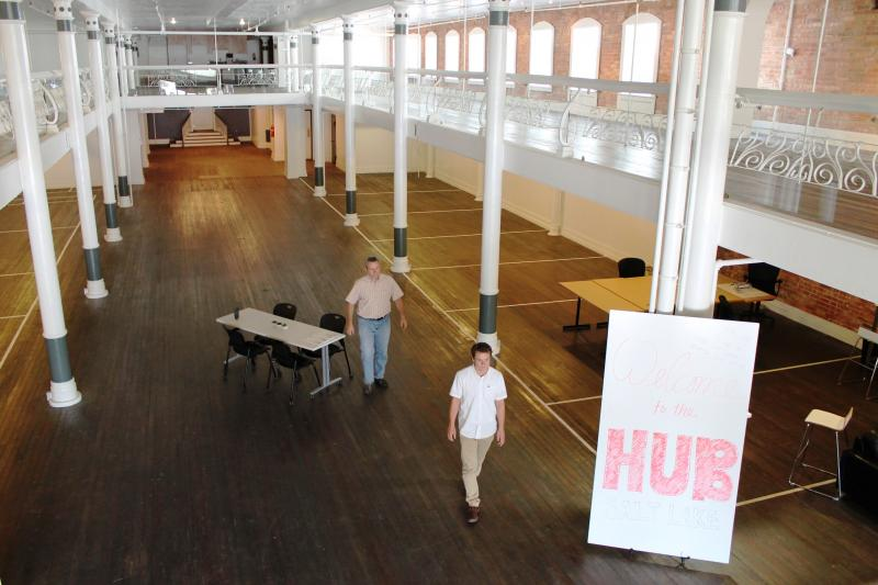 HUB Salt Lake co-founders Søren Simonsen and Dustin Haggett in newly leased space on 150 South State Street.
