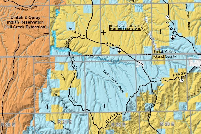This BLM map shows state-owned land in the Book Cliffs in blue