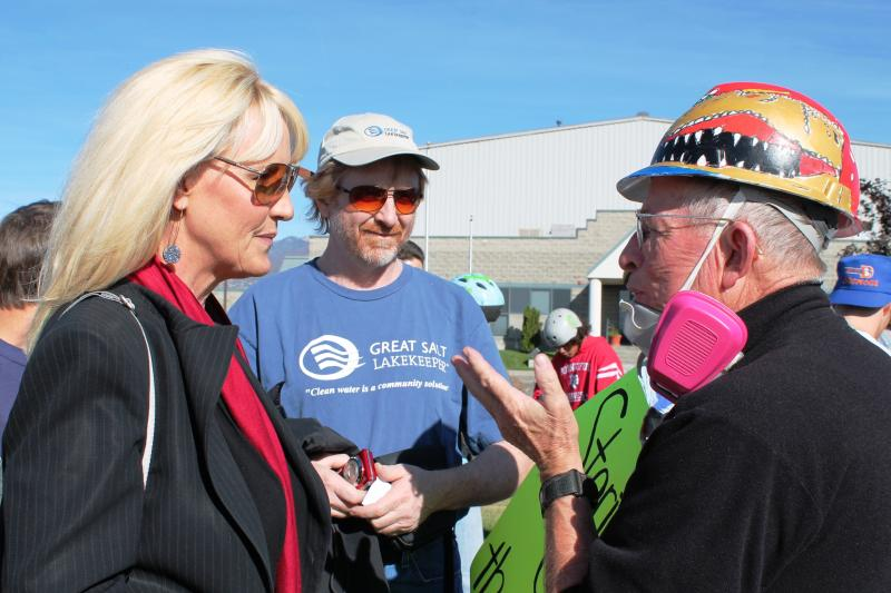 Erin Brockovich talks to protestors in front of Stericycle's medical waste incinerator in North Salt Lake City.