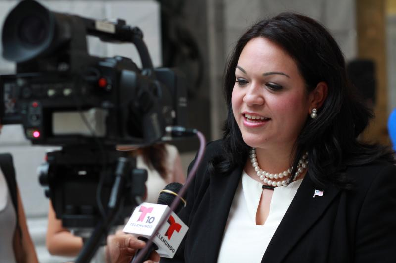 Sen. Luz Robles, D-Salt Lake, speaks to local spanish media after announcing campaign.