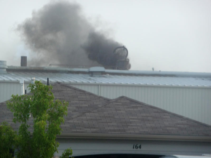 Smoke billows out of Stericycle's incinerator during an emergency bypass incident.