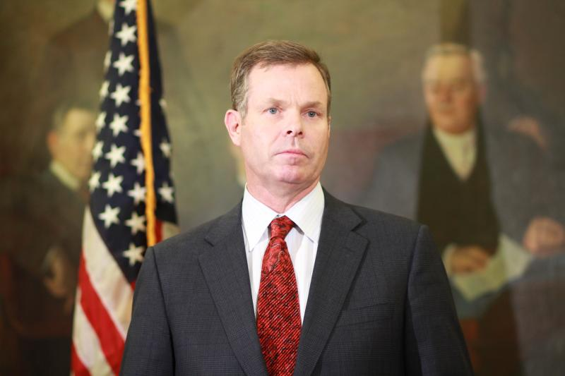 Utah Attorney General John Swallow addresses the media at the State Capitol
