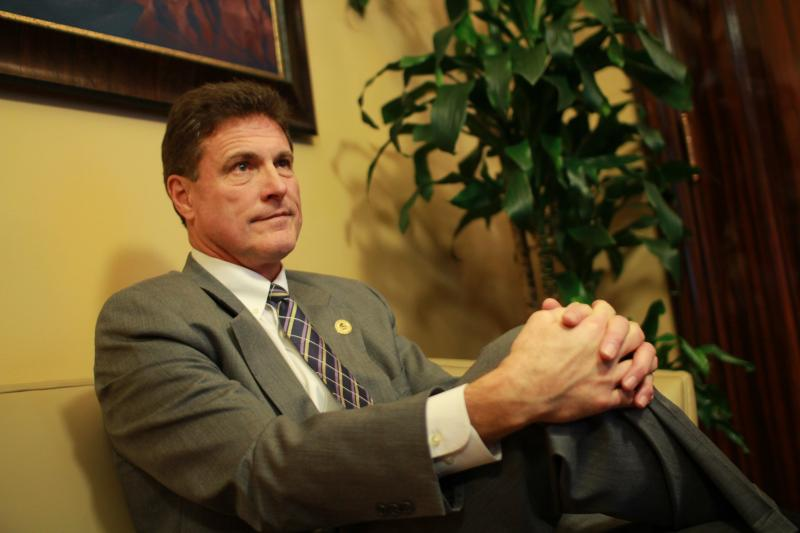Rep. Jim Dunnigan, R-Taylorsville, reacts to the resignation of Utah Attorney General John Swallow