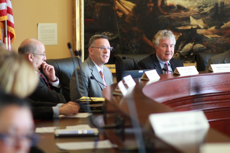 Special Counsel Steve Reich, center, addresses the House Special Investigative Committee of Utah AG John Swallow