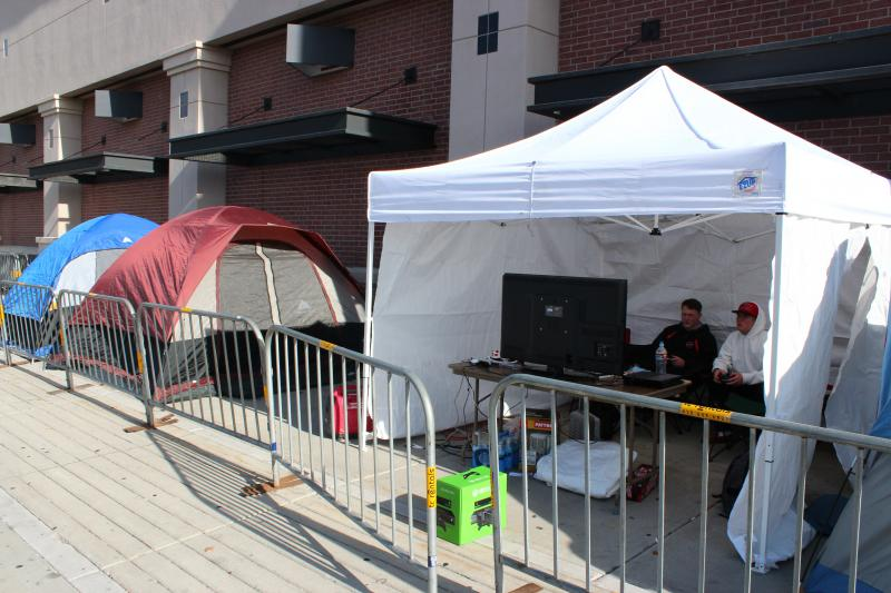 Shoppers set up camp outside a Best Buy waiting for Black Friday sales