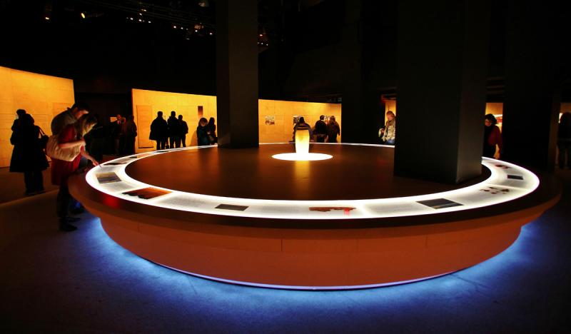The Dead Sea Scrolls at The Leonardo are displayed in a specially-built, climate controlled display table.