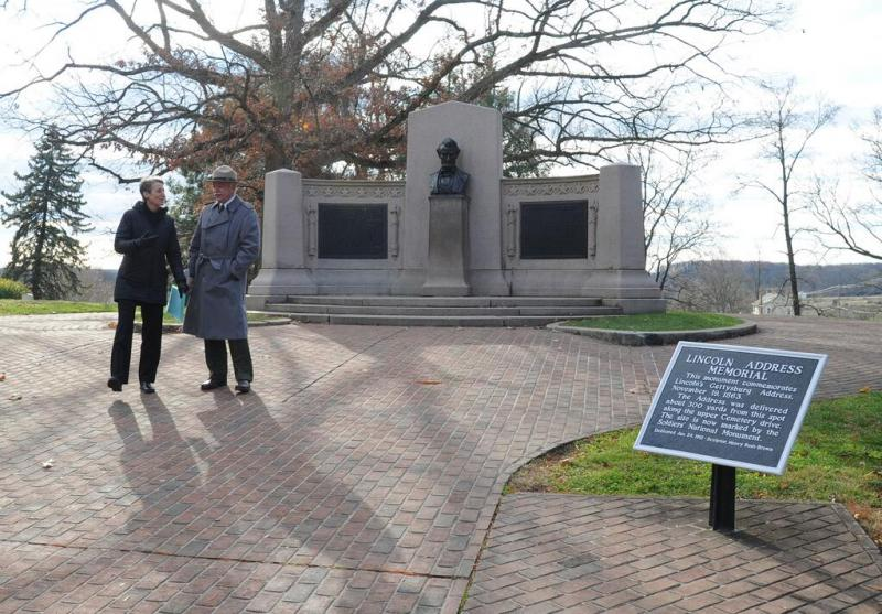 U.S. Secretary of the Interior Sally Jewell stands at the Gettysburg Address Memorial on November 19, 2013