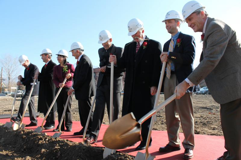 University of Utah administrators and Murray city officials break ground on Mid-Valley Health Center.