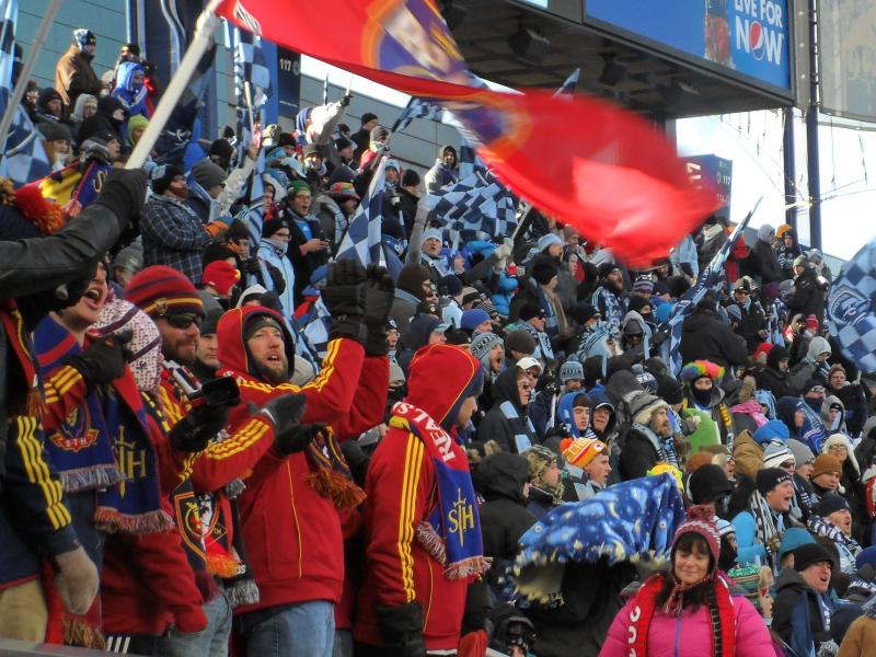 Real Salt Lake fans brave the cold in Kansas City on Saturday during the MLS Cup Match against Sporting Kansas City
