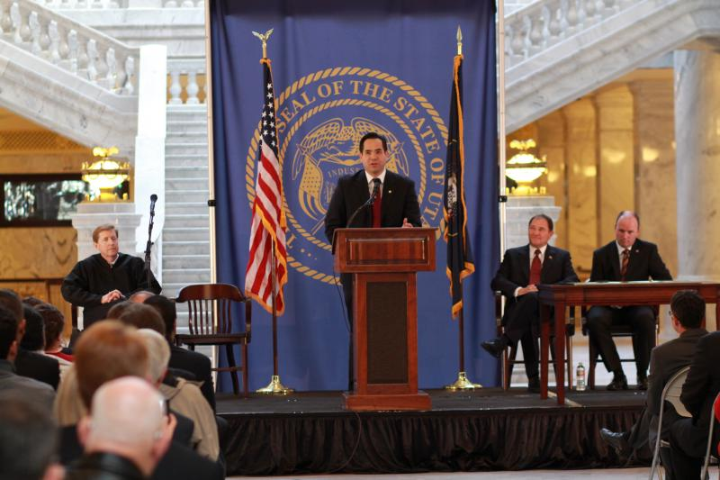 Utah Attorney General Sean Reyes speaks to the crowd at his innauguration.