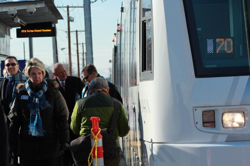 Local leaders take the first ride on the Sugar House Streetcar