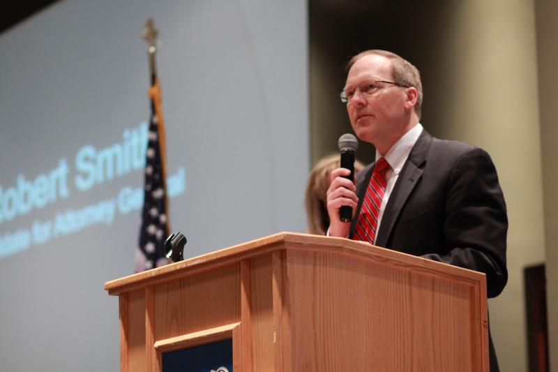 Robert Smith speaks to members of the Utah GOP State Central Committee