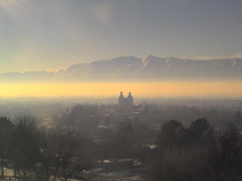 Utah State University's webcam shows the Cache Valley covered by an inversion layer.