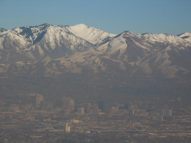 A winter inversion traps polluted air in the valleys of the Wasatch Front