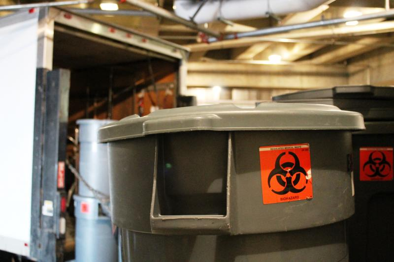 Bins of trace chemotherapy waste are picked up once a week at the Hunstman Cancer Hospital on the campus of the University of Utah.