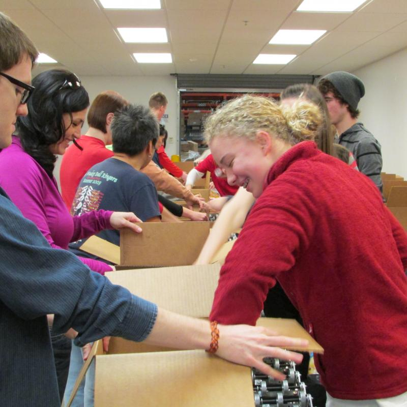 Volunteers prepare donations at the Utah Food Bank.
