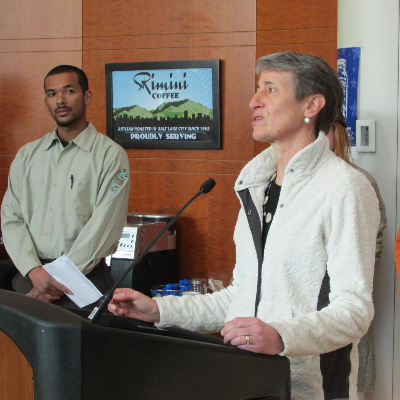 U.S. Interior Secretary Sally Jewell speaks to members of the Outdoor Retailers Association in Salt Lake City