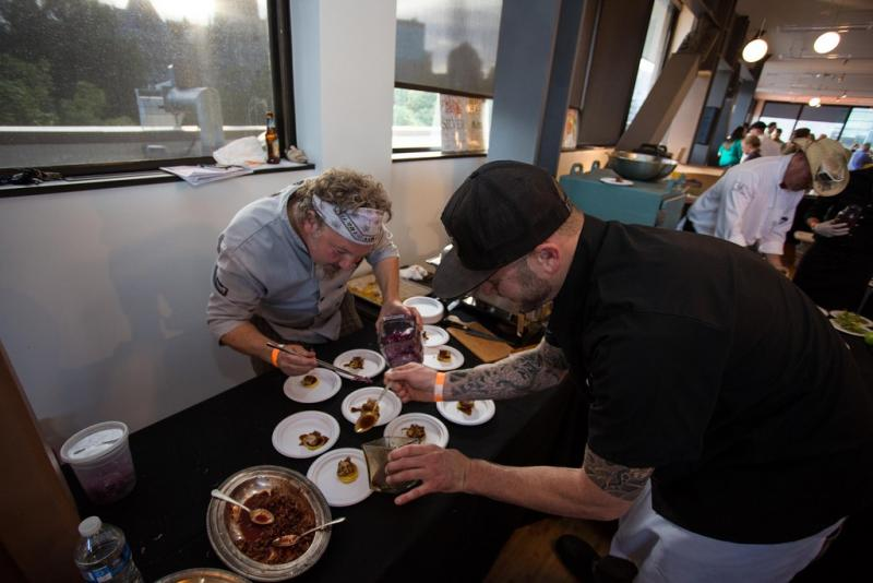 Chefs prepare their dishes at KUER's Savory Salt Lake