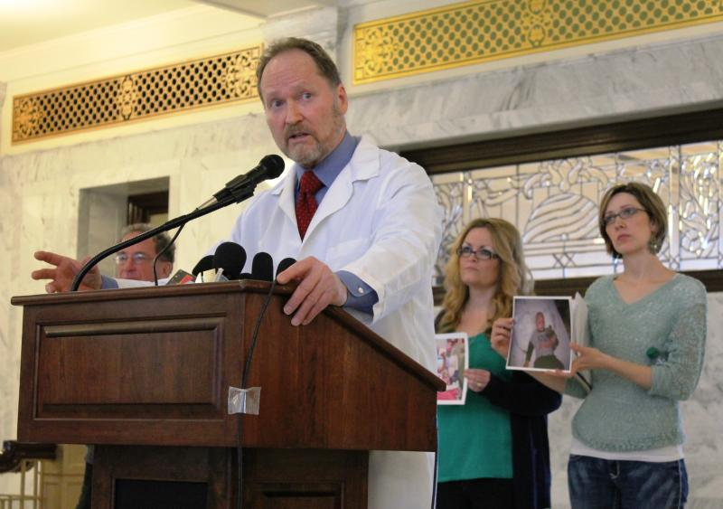 Dr. Brian Moench of Utah Physicians for a Healthy Environment with protestors at the state capitol. (Feb. 13, 2014)