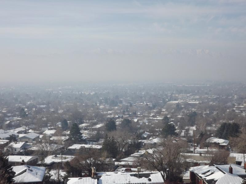 Polluted air trapped by a weather inversion over Salt Lake City, January 2014