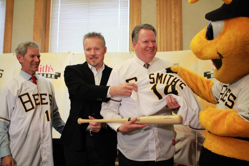 Salt Lake City Mayor Ralph Becker, Miller Group of Companies CEO Greg Miller, and Smith's President Jay Cummins