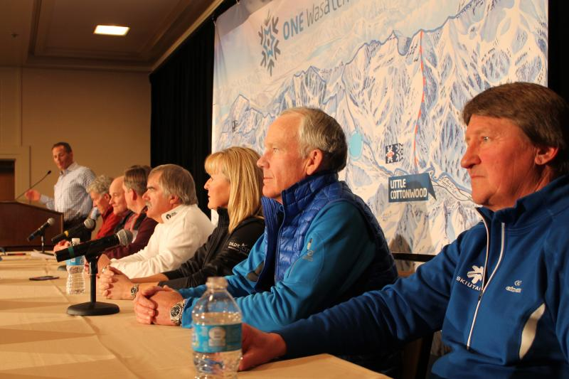 "Ski Utah President Nathan Rafferty presents the ""One Wasatch"" concept along with general managers from seven ski resorts."