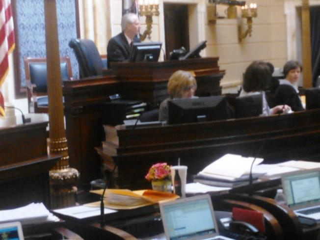 Utah Senate Clerk Paula Tew conducts a roll-call vote
