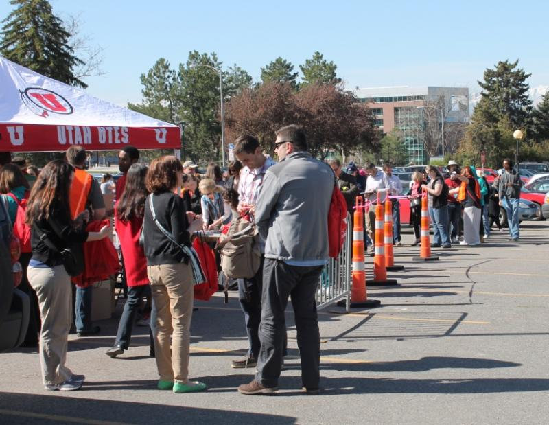 University of Utah employees gather in a parking lot during the 2014 Great Utah Shakeout earthquake drill