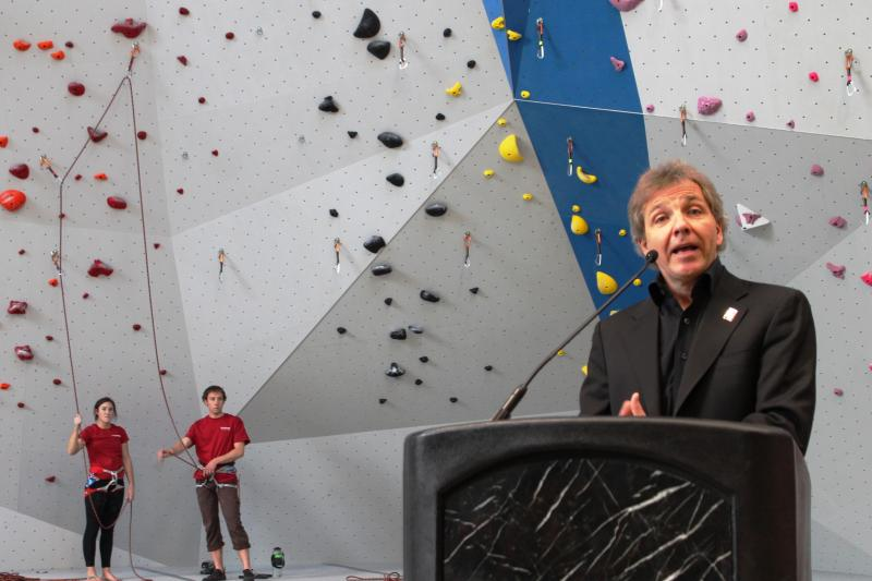 Utah Symphony Music Director Thierry Fischer talks about the Mighty 5 tour at Momentum climbing gym in Millcreek.