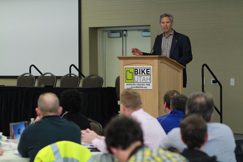 Salt Lake City Mayor Ralph Becker speaks at the 2014 Utah Bike Summit